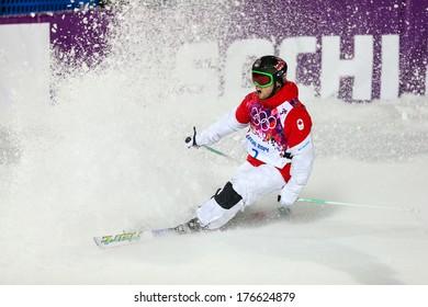 SOCHI, RUSSIA - FEB 10, 2014: Alex BILODEAU (CAN) at Men's Moguls Final of Freestyle skiing at Sochi 2014 XXII Olympic Winter Games