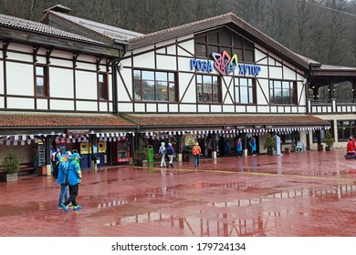 SOCHI, RUSSIA - FEB 28, 2014: Rosa Khutor Alpine ski Resort in Krasnaya Polyana - popular center of skiing and snowboard, venue for the 2014 winter Olympics