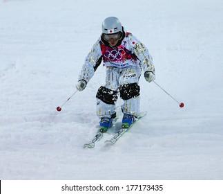 Sochi, RUSSIA - February 10, 2014: Nobuyuki NISHI (JPN) at Freestyle skiing. Men's Moguls Qualification at Sochi 2014 XXII Olympic Winter Games