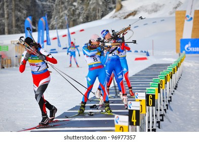 "SOCHI, RUSSIA - FEBRUARY 10: Cup of Russia on biathlon in Sochi on February 10, 2012. The combined ski-biathlon complex ""Laura"" for the Olympic Games 2014. On a firing line. Female prosecution race."