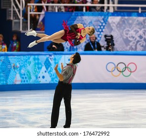 Sochi, RUSSIA - February 11, 2014: Paige LAWRENCE and Rudi SWIEGERS (CAN) on ice during figure skating competition of pairs in short program at Sochi 2014 XXII Olympic Winter Games