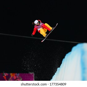 Sochi, RUSSIA - February 12, 2014: Jiayu LIU (CHN) at snowboard competition during Ladies' Halfpipe Qualification at Sochi 2014 XXII Olympic Winter Games