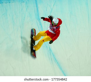 Sochi, RUSSIA - February 12, 2014: Jiayu LIU (CHN) at snowboard competition during Ladies' Halfpipe Qualification at Sochi 2014 XXII Olympic Winter Games