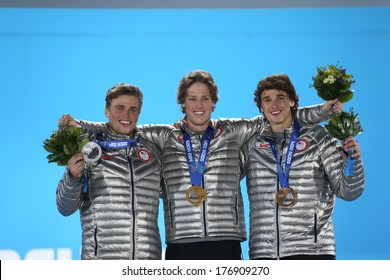 SOCHI RUSSIA - February 13TH: (L-R) Gus Kenworthy, Joss Christensen and Nick Goepper stand on the Olympic Podium in the Olympic park on February 13th, 2014 in Sochi, Russia.