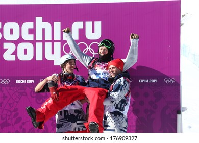 SOCHI, RUSSIA- February 13th: (LR) Gus Kenworthy, Joss Christensen and Nick Goepper celebrate after an american sweep of the podium in Slopestyle  on February 13th 2014 in Sochi Russia.