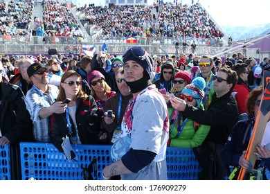 SOCHI, RUSSIA- February 13th: skier Bobby Brown talks to media during the Men's slope style event at the Olympics on February 13th 2014 in Sochi Russia.