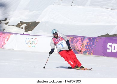 SOCHI, RUSSIA- February 13th: skier Bobby Brown skis out of the bottom of the slopestyle course at the Olympic games on February 13th 2014 in Sochi Russia.