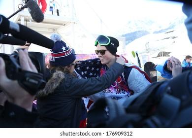 SOCHI, RUSSIA- February 13th: skier Joss Christensen hugs his mom after winning a Gold Medal in Olympic Slopestyle on February 13th 2014 in Sochi Russia.