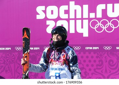 SOCHI, RUSSIA- February 13th: skier Gus Kenworthy waits for his score to come in at the Slopestyle event in Sochi  on February 13th 2014 in Sochi Russia.