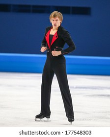 Sochi, RUSSIA - February 14, 2014: Tomas VERNER (CZE) on ice during figure skating competition of men free skating at Sochi 2014 XXII Olympic Winter Games