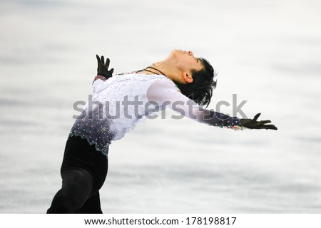 Sochi, RUSSIA - February 14, 2014: Yuzuru HANYU (JPN) on ice during figure skating competition of men free skating at Sochi 2014 XXII Olympic Winter Games