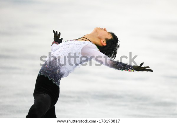 Sochi, RUSSIA - February 14, 2014: Yuzuru HANYU (JPN) on ice during figure skating competition of men free skating at Sochi 2014 XXII Olympic Winter Games