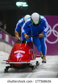 Sochi, RUSSIA - February 16, 2014: Italy 1 team at two-man bobsleigh heat at Sochi 2014 XXII Olympic Winter Games