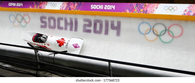 Sochi, RUSSIA - February 16, 2014: Canada 2 team at two-man bobsleigh heat at Sochi 2014 XXII Olympic Winter Games