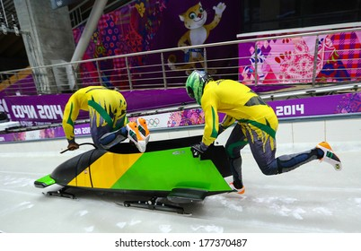 Sochi, RUSSIA - February 16, 2014: Jamaica 1 team at two-man bobsleigh heat at Sochi 2014 XXII Olympic Winter Games