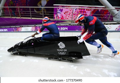 Sochi, RUSSIA - February 16, 2014: Great Britain 1 team at two-man bobsleigh heat at Sochi 2014 XXII Olympic Winter Games