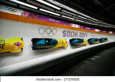 Sochi, RUSSIA - February 16, 2014: Australia 1 team at two-man bobsleigh heat at Sochi 2014 XXII Olympic Winter Games