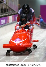 Sochi, RUSSIA - February 16, 2014: Monaco 1 team at two-man bobsleigh heat at Sochi 2014 XXII Olympic Winter Games