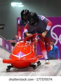 Sochi, RUSSIA - February 16, 2014: Monaco 1 team at two-man bobsleigh heat at Sochi 2014 XXII Olympic Winter Games