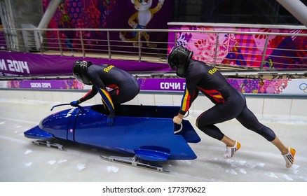 Sochi, RUSSIA - February 16, 2014: Romania 1 team at two-man bobsleigh heat at Sochi 2014 XXII Olympic Winter Games