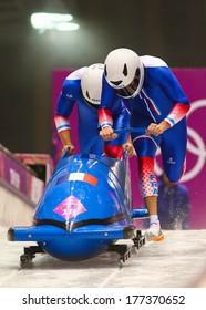 Sochi, RUSSIA - February 16, 2014: France 1 team at two-man bobsleigh heat at Sochi 2014 XXII Olympic Winter Games