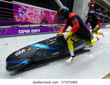Sochi, RUSSIA - February 16, 2014: Germany 3 team at two-man bobsleigh heat at Sochi 2014 XXII Olympic Winter Games