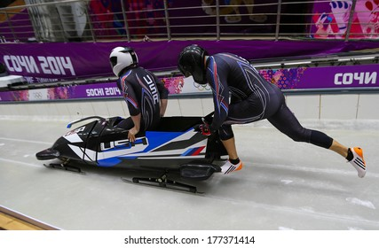Sochi, RUSSIA - February 16, 2014: United States 2 team at two-man bobsleigh heat at Sochi 2014 XXII Olympic Winter Games