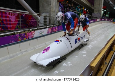 Sochi, RUSSIA - February 16, 2014: Korea 2 team at two-man bobsleigh heat at Sochi 2014 XXII Olympic Winter Games