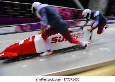 Sochi, RUSSIA - February 16, 2014: Switzerland 2 team at two-man bobsleigh heat at Sochi 2014 XXII Olympic Winter Games