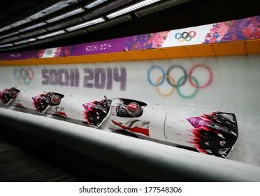 Sochi, RUSSIA - February 16, 2014: Poland 1 team at two-man bobsleigh heat at Sochi 2014 XXII Olympic Winter Games