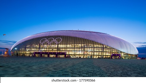 Sochi, RUSSIA - February 16, 2014: Bolshoy Ice Dome during ice hockey Men's Prelim. Round - Group A USA �¢?? RUS match at Sochi 2014 XXII Olympic Winter Games
