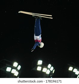 Sochi, RUSSIA - February 16, 2014: Mac BOHONNON (USA) at freestyle skiing competition in Men's Aerials Final at Sochi 2014 XXII Olympic Winter Games