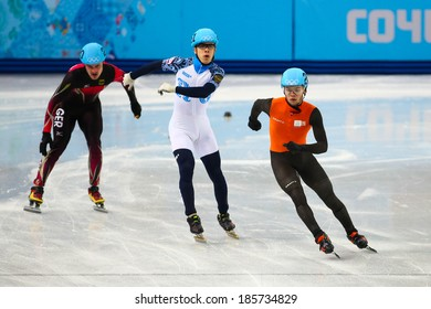 Sochi, RUSSIA - February 18, 2014: Sjinkie KNEGT (NED), No248 at Men's 500 m Short Track Heats at the Sochi 2014 Olympic Games