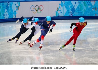 Sochi, RUSSIA - February 18, 2014: Tianyu HAN (CHN), No209 at Men's 500 m Short Track Heats at the Sochi 2014 Olympic Games