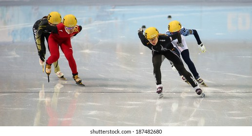 Sochi, RUSSIA - February 18, 2014: Jessica SMITH (USA) No.156 at Ladies' 1000 m Short Track Heats at the Sochi 2014 Olympic Games
