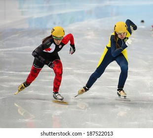 Sochi, RUSSIA - February 18, 2014: Valerie MALTAIS (CAN) No.107 at Ladies' 1000 m Short Track Heats at the Sochi 2014 Olympic Games