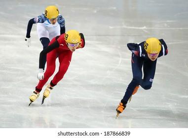 Sochi, RUSSIA - February 18, 2014: Kexin FAN (CHN) No.109 at Ladies' 1000 m Short Track Heats at the Sochi 2014 Olympic Games