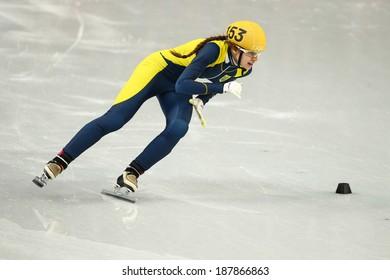Sochi, RUSSIA - February 18, 2014: Safiya VLASOVA (UKR) No.153 at Ladies' 1000 m Short Track Heats at the Sochi 2014 Olympic Games