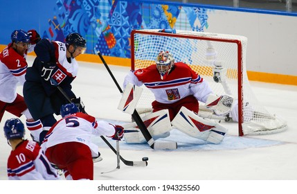 Sochi, RUSSIA - February 18, 2014: Ondrej PAVELEC (CZE) on ice during Ice hockey Men's Play-offs Qualifications Game vs. Slovakia team at the Sochi 2014 Olympic Games