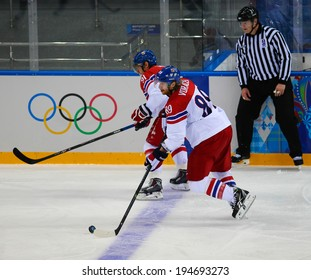 Sochi, RUSSIA - February 18, 2014: Jakub VORACEK (CZE) on ice during Ice hockey Men's Play-offs Qualifications Game vs. Slovakia team at the Sochi 2014 Olympic Games