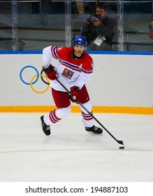 Sochi, RUSSIA - February 18, 2014: Jaromir JAGR (CZE) on ice during Ice hockey Men's Play-offs Qualifications Game vs. Slovakia team at the Sochi 2014 Olympic Games