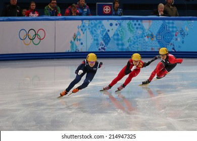 Sochi, RUSSIA - February 18, Alang KIM (KOR), No 136 at Ladies' 3000 m Heats Short Track Relay at the Sochi 2014 Olympic Games