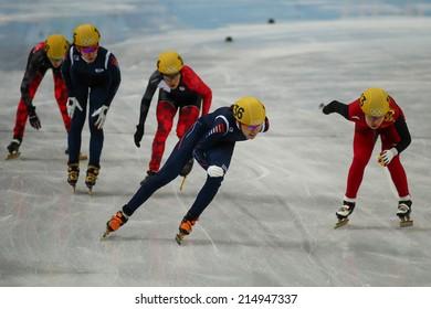 Sochi, RUSSIA - February 18, Alang KIM (KOR), No 136 at Ladies' 3000 m Heats Short Track Relay at the Sochi 2014 Olympic Games