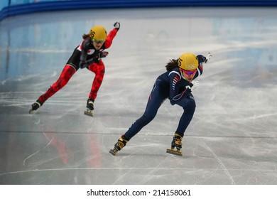 Sochi, RUSSIA - February 18, Ha-Ri CHO (KOR), No 135 at Ladies' 3000 m Heats Short Track Relay at the Sochi 2014 Olympic Games