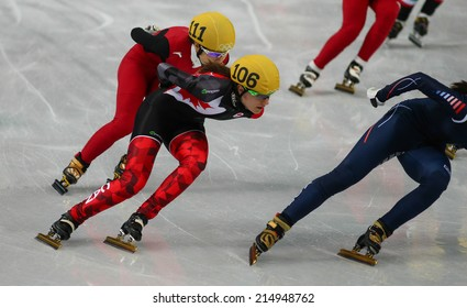 Sochi, RUSSIA - February 18, Jessica HEWITT (CAN), No 106 at Ladies' 3000 m Heats Short Track Relay at the Sochi 2014 Olympic Games