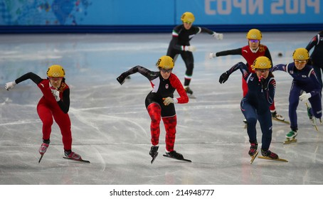Sochi, RUSSIA - February 18, Marianne ST-GELAIS (CAN), No 108 at Ladies' 3000 m Heats Short Track Relay at the Sochi 2014 Olympic Games
