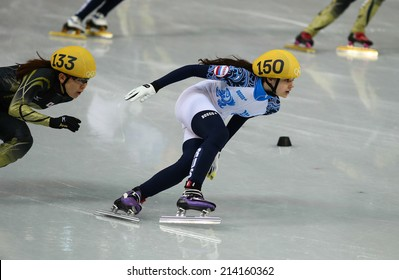 Sochi, RUSSIA - February 18, Sofia PROSVIRNOVA (RUS), No 150 at Ladies' 3000 m Heats Short Track Relay at the Sochi 2014 Olympic Games
