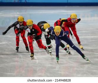 Sochi, RUSSIA - February 18, Suk Hee SHIM (KOR), No 139 at Ladies' 3000 m Heats Short Track Relay at the Sochi 2014 Olympic Games