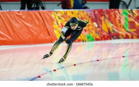 Sochi, RUSSIA - February 19, 2014: Masako HOZUMI (JPN) on lane during Speed Skating. Ladies' 5000 m at the Sochi 2014 Olympic Games