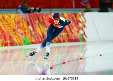 Sochi, RUSSIA - February 19, 2014: Martina SABLIKOVA (CZE) on lane during Speed Skating. Ladies' 5000 m at the Sochi 2014 Olympic Games